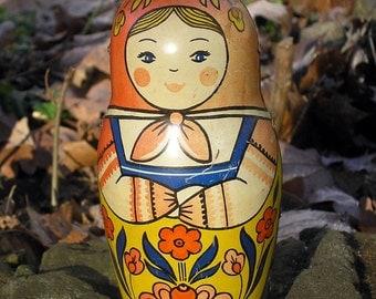 Vintage Russian Matryoshka Doll, Metal Babushka Russian Doll, Collectible Doll