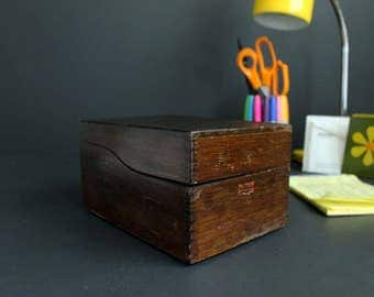 Vintage Weis Wood Recipe Box File Box Dark Stained Wood Card Catalog 3X5 Index Card Holder