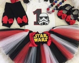 3pc Star Wars Birthday tutu set-include personalised Top,Skirt, matching headband