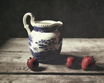 Strawberry Print, Rustic Country Kitchen Art, Vintage Farmhouse Style Wall Decor, Still Life Food Photography   'Strawberries And Cream'
