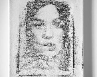 Astrid Portrait Transfer Screen print on Canvas by Tania Qurashi