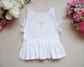 Christening dress ruffle , 0-3 month-7/8 years,100% cotton with embroidery