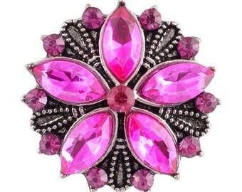 Magenta Rhinestone Flower Snap 20mm