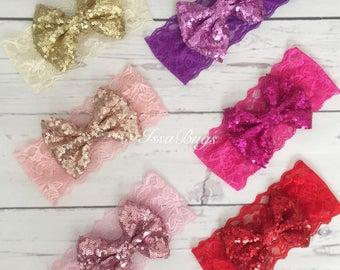 Sequin bow headband-sparkle bow headband-bow head wrap-big bow headband-lace bow headband-baby bow headband-baby girl big bow