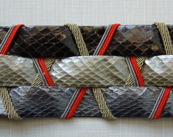 1980's leather and metallic snakeskin belt