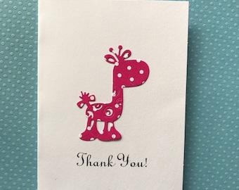 Giraffe Card, Thank You  Cards, Baby Shower Thank You Cards, Baby  Girl Thank You Cards, Pink & White Polka Dot Giraffe Cards