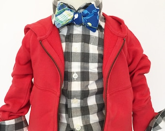 Crabby Plaiddy Crab and Plaid Reversible Bow Tie