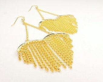 Gold Vermeil Chain Heart Earings, Fun and Trending Earrings with Heart shape Chain,