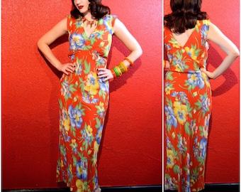 1940s Rayon Hawaiian Dress Bias Cut Tropical Print Medium Large