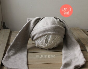 Newborn Bunny Ears Upcycled Hat RTS