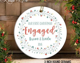 Engagement Christmas Ornament, Just Engaged Ornament Mr and Mrs Ornament Custom Engagement Gift Bridal Shower Ornament First Christmas OCH37