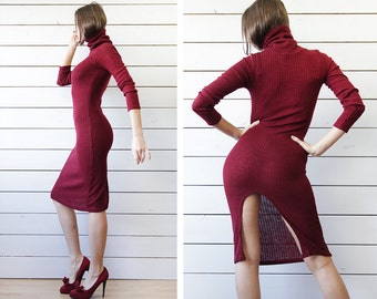 Vintage maroon red rib knit sexy extravagant deep split high turtleneck knee length fitted tunic sweater dress XS S