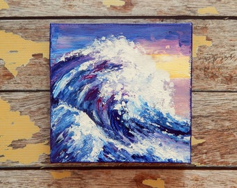 "Ocean Canvas Art | Wave Painting | Ocean Art | Beach Decor | 6x6 | ""Amethyst"" 