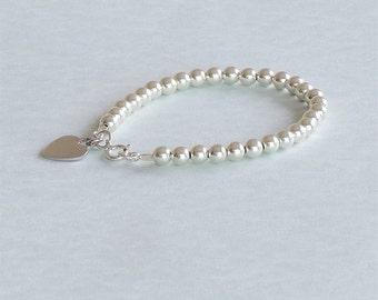 Sterling Silver Beads Bracelet, Heart Silver Bracelet, Beaded Bracelet, 6 mm Silver Bracelet, anniversary Gift, Chunky Gold Bracelet