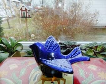 Vintage Swedish Ceramic bird candleholder - Blue glazed - Gabriel Ceramic