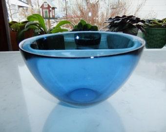 Vintage Swedish Blue Glass bowl - Fuga by Orrefors - Sven Palmqvist design