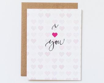 Love You Card, Cute Love You Card, Heart Card, I Heart You, Love Heart Card, Card with Hearts, Love Card, Pink Hearts Card, I Love You Card