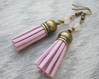 Lilac Pink Tassel Earrings, Rose Quartz  Gemstone Earrings, Faux Leather Tassel Earrings, Boho Vegan Dangle Earrings, Antiqued BRONZE, TE2