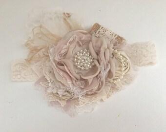 Champagne  Headband -Baby Headband- Flower Girl Headband-Dollcake Headband- Girls Headband-  Tan Headband