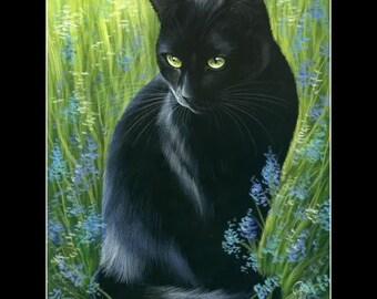 Black Cat Print Black Spring Is Here by Irina Garmashova