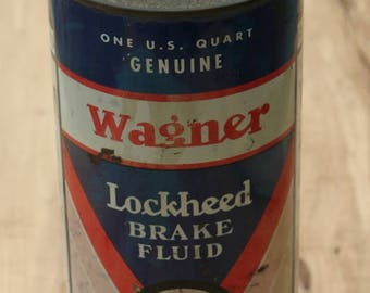 Vintage Advertising WAGNER LOCKHEED Break Fluid One Quart Size Wagner Electric Corp. Very Rare Can to Find