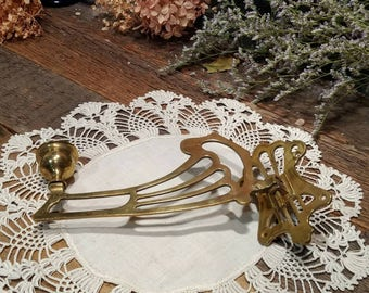 Lovely Vintage / Antique Brass Wall Mount Candle Holder / Candleholder / Swing Arm / Art Nouveau