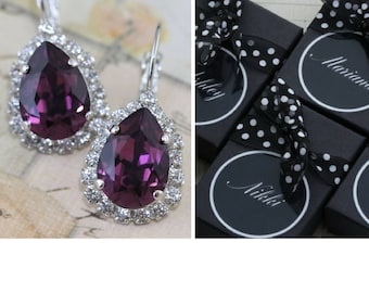Purple Wedding Set of 8 Pairs Bridesmaids Earring Plum Earrings Purple Necklace Bridesmaid Bracelet Eggplant Also Avail As Clip On Earring