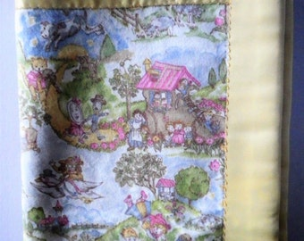 Large Baby Blanket Nursery Rhyme Pastel Toile Flannel with Buttery Yellow Satin  Gift Shower Nursery  Christmas Gift