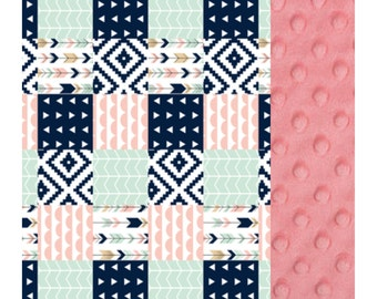 Baby Blanket Navy Coral Mint Arrow Patch Carseat Blanket Crib Blanket Girl Feather Minky Blanket