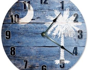 "SOUTH CAROLINA CRESCENT and Palmetto Tree Clock - Large 10.5"" Wall Clock - 2175"