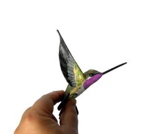Paper mache art Bird sculpture Hummingbird decoration