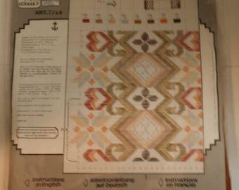 Vintage Design Gunnar-P Embroidery Kit --  13 by 19 Inch Rust Wool Table Runner, White, Orange, Green, Beige Wool Tapisserie / Tapestry Yarn