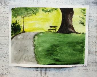 Scottish summer  landscape original watercolor painting 10x12