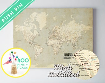Custom World Map Push Pin Canvas -  Vintage High Detailed - Ready to Hang - 240 Pins + 198 World Flag Sticker Pack Included