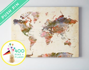World Map Push Pin Watercolor Terra Vintage - Countries, Capitals, USA - CANADA states - 240 Pins + 198 World Flag Sticker Pack Included