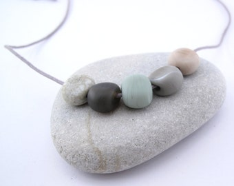 River stone necklace -  80 cm long - handmade lampwork pebble beads