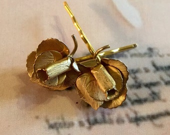 Decorative Gold Rose Hair Pins Vintage 1950 1960 Romantic Woodland Bridal Goddess Giovanni Bobby Pins