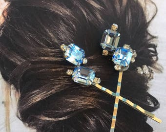 Bridal Blue Weiss Hair Pins Vintage 1950 Rhinestone Hair Jewelry Bobby Pins Romantic Regency Wedding