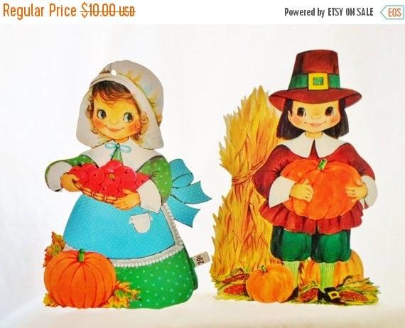 On sale vintage die cut thanksgiving decorations pilgrim boy