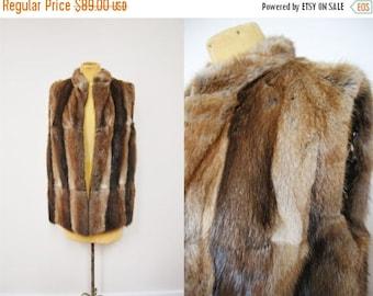 Bringing Home Baby SALE: Vintage 40s Real Fur Soft Vest Winter Trend Cozy Jacket Coat Patchwork Clothing