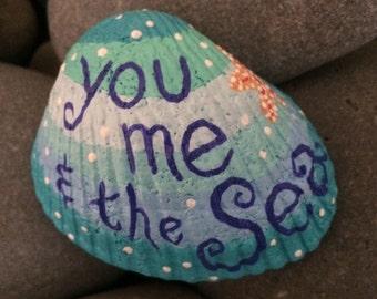 Painted sea shell - you me & the sea - seashell - starfish - stocking stuffer