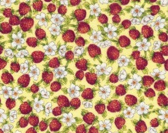 Strawberries and Flowers - Cotton Fabric - David Textiles -  FOOD-02