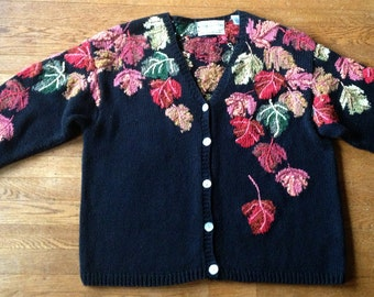 1980s Hand Knit Black Autumn Leaves Intarsia Cardigan Rich Color
