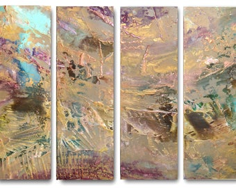 XL ART HUGE Original Seascape Triptych Art by Caroline Ashwood - Textured and contemporary abstract painting on canvas - Free Shipping