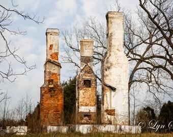 Old Chimneys, Home Decor, Abandoned, Nature, Landscape, Photography, fine art, fine art print, wall art, old house, Nash, North Carolina
