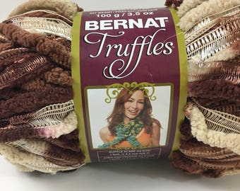 BERNAT TRUFFLES Yarn Brown Beige Chenille Ribbon Ruffle Discontinued Chocolate Novelty Specialty