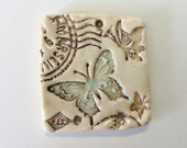 Butterfly stamp ceramic pendant handmade artisan bohemian spring jewelry component cottage bohemian chic