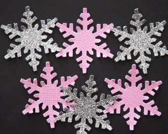 50 Silver and Pink Glitter Snowflakes,Confetti,Embellishment,Scrapbooking,Winter Onederland,Party Decor