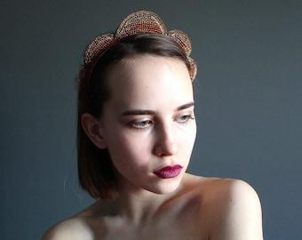 Elegant Art Deco Statement Headband - Copper Wire Crocheted Lacy Headband - Unusual Unique Metal Industrial Headband - Large Copper Crown
