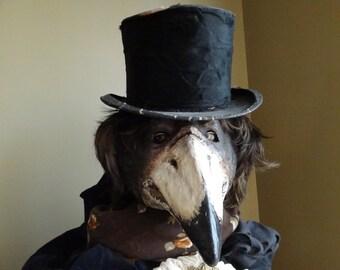 Plague Doctor mask, Paper mache mask, crow mask, raven mask, bird mask, bird costume, masquerade mask, masquerade men, Halloween mask